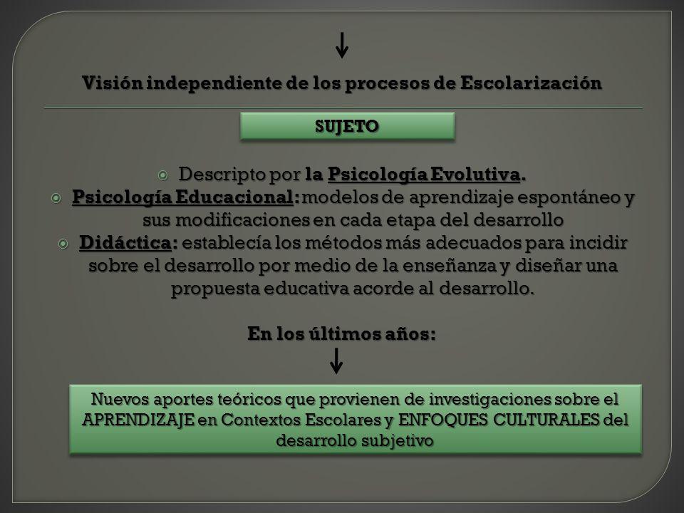 Visión independiente de los procesos de Escolarización