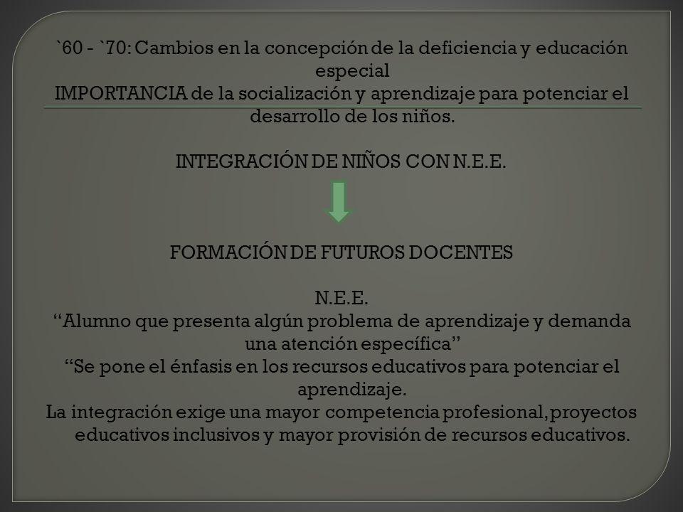 `60 - `70: Cambios en la concepción de la deficiencia y educación especial IMPORTANCIA de la socialización y aprendizaje para potenciar el desarrollo de los niños.