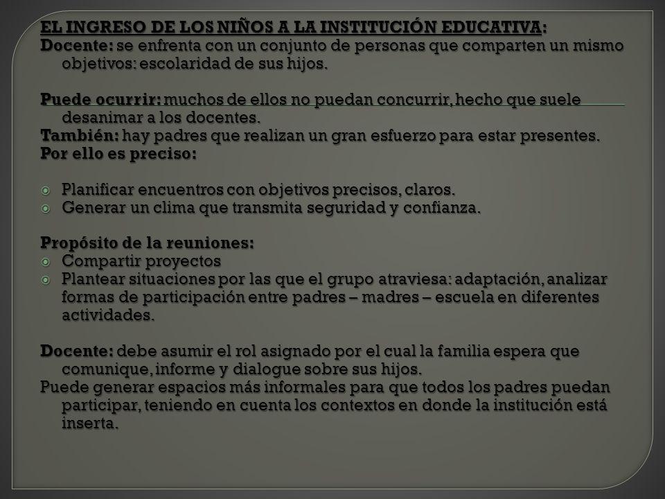 EL INGRESO DE LOS NIÑOS A LA INSTITUCIÓN EDUCATIVA: