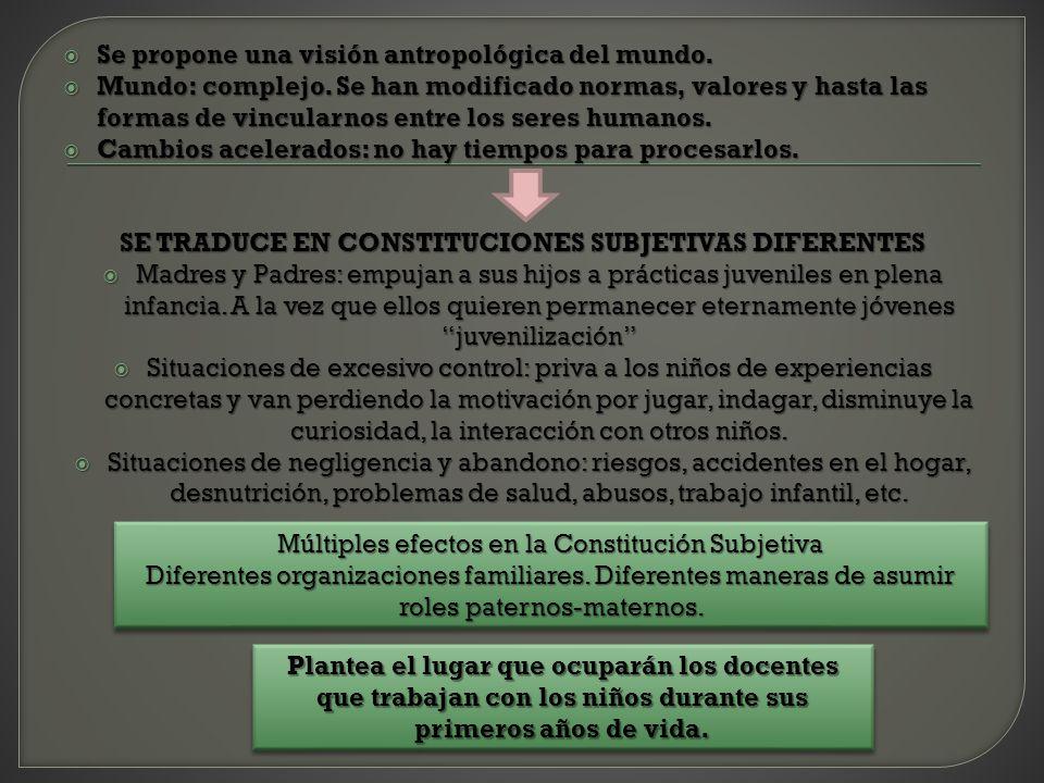 SE TRADUCE EN CONSTITUCIONES SUBJETIVAS DIFERENTES