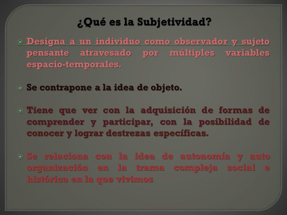 ¿Qué es la Subjetividad