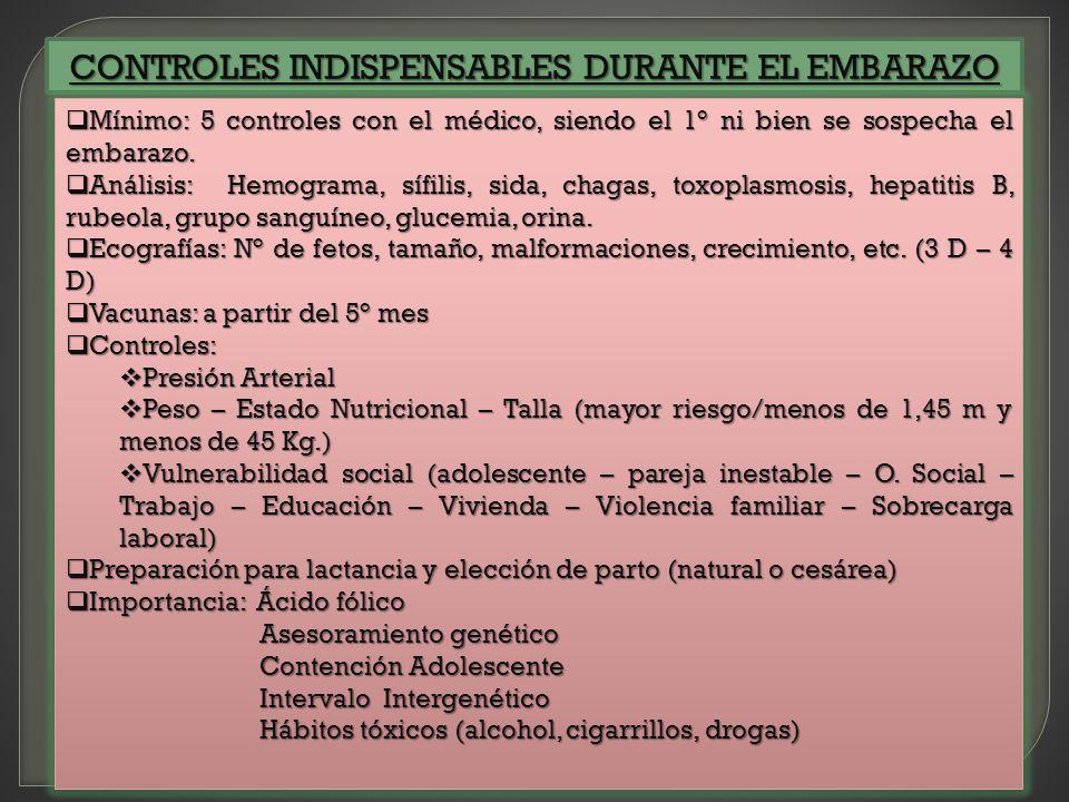 CONTROLES INDISPENSABLES DURANTE EL EMBARAZO