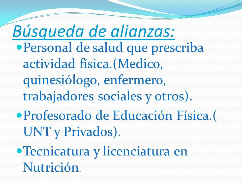 Búsqueda de alianzas: Personal de salud que prescriba actividad física.(Medico, quinesiólogo, enfermero, trabajadores sociales y otros).