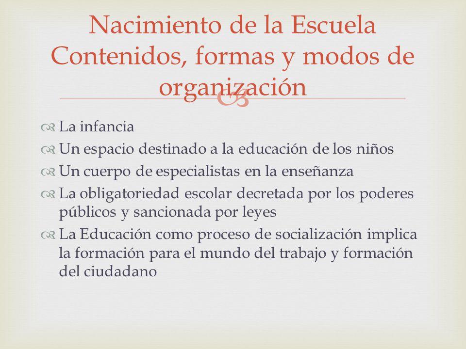 Nacimiento de la Escuela Contenidos, formas y modos de organización