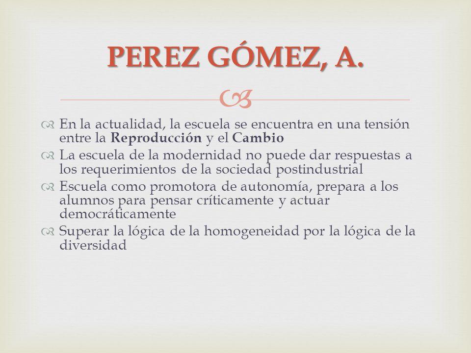 PEREZ GÓMEZ, A. En la actualidad, la escuela se encuentra en una tensión entre la Reproducción y el Cambio.