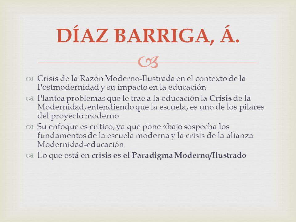 DÍAZ BARRIGA, Á. Crisis de la Razón Moderno-Ilustrada en el contexto de la Postmodernidad y su impacto en la educación.