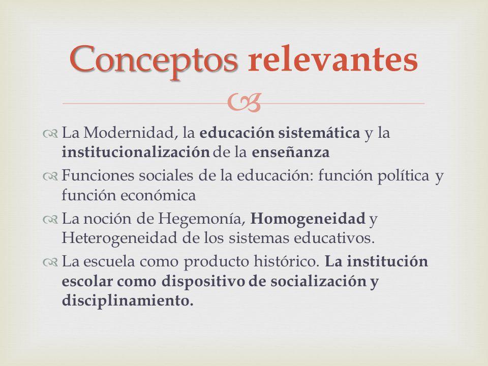 Conceptos relevantes La Modernidad, la educación sistemática y la institucionalización de la enseñanza.