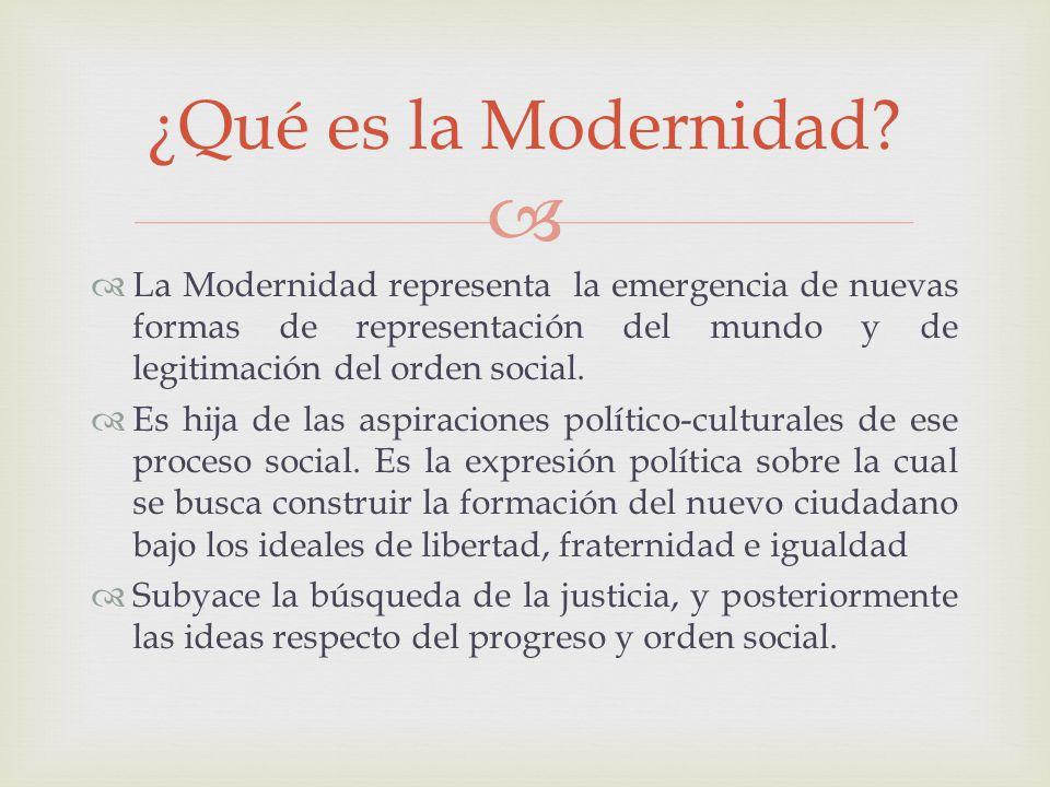 ¿Qué es la Modernidad La Modernidad representa la emergencia de nuevas formas de representación del mundo y de legitimación del orden social.