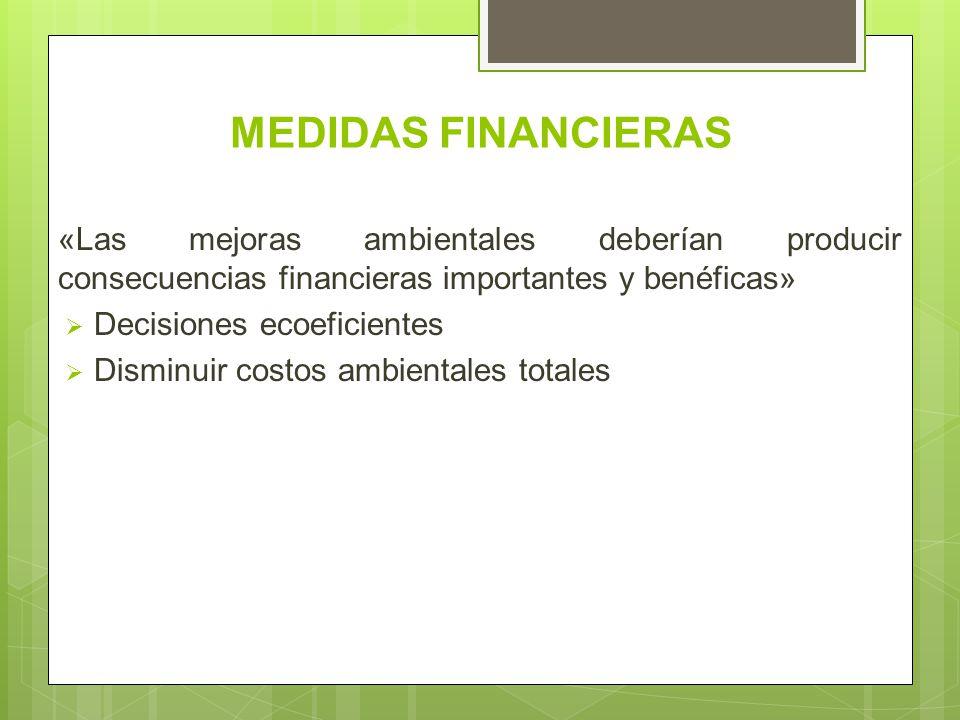 MEDIDAS FINANCIERAS «Las mejoras ambientales deberían producir consecuencias financieras importantes y benéficas»