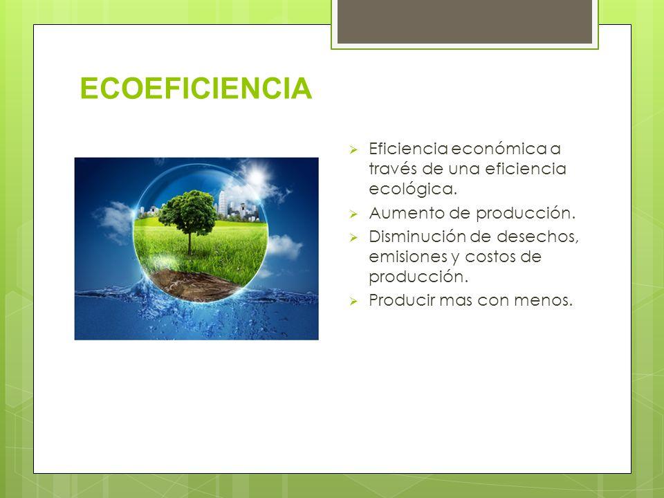 ECOEFICIENCIA Eficiencia económica a través de una eficiencia ecológica. Aumento de producción.