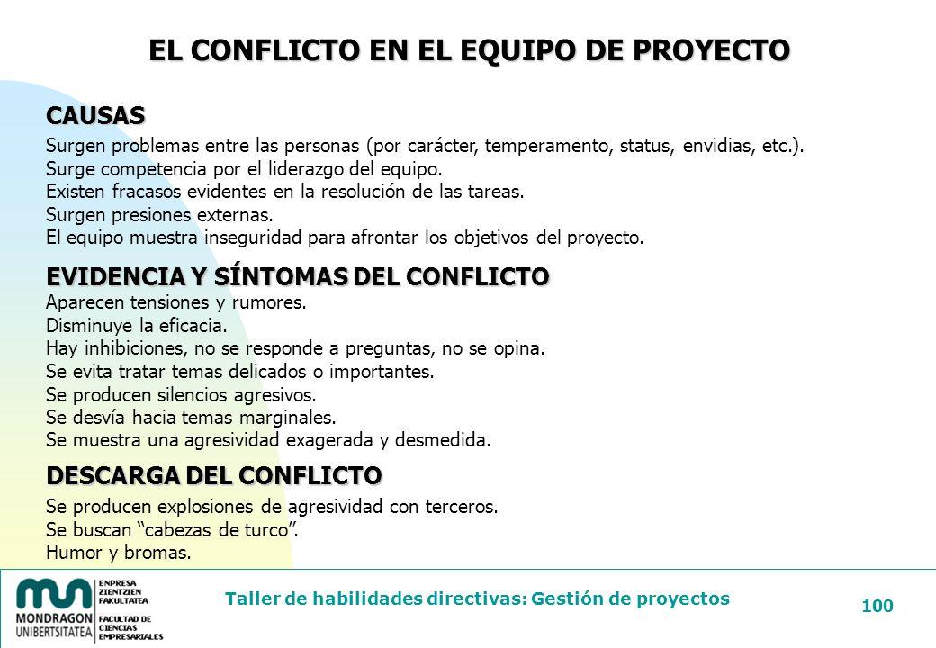 EL CONFLICTO EN EL EQUIPO DE PROYECTO