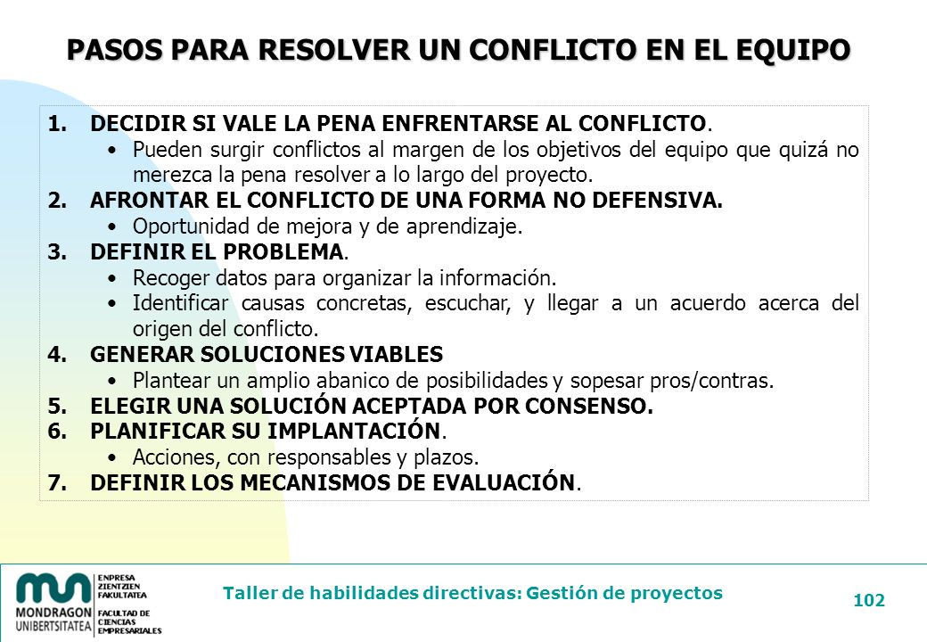 PASOS PARA RESOLVER UN CONFLICTO EN EL EQUIPO