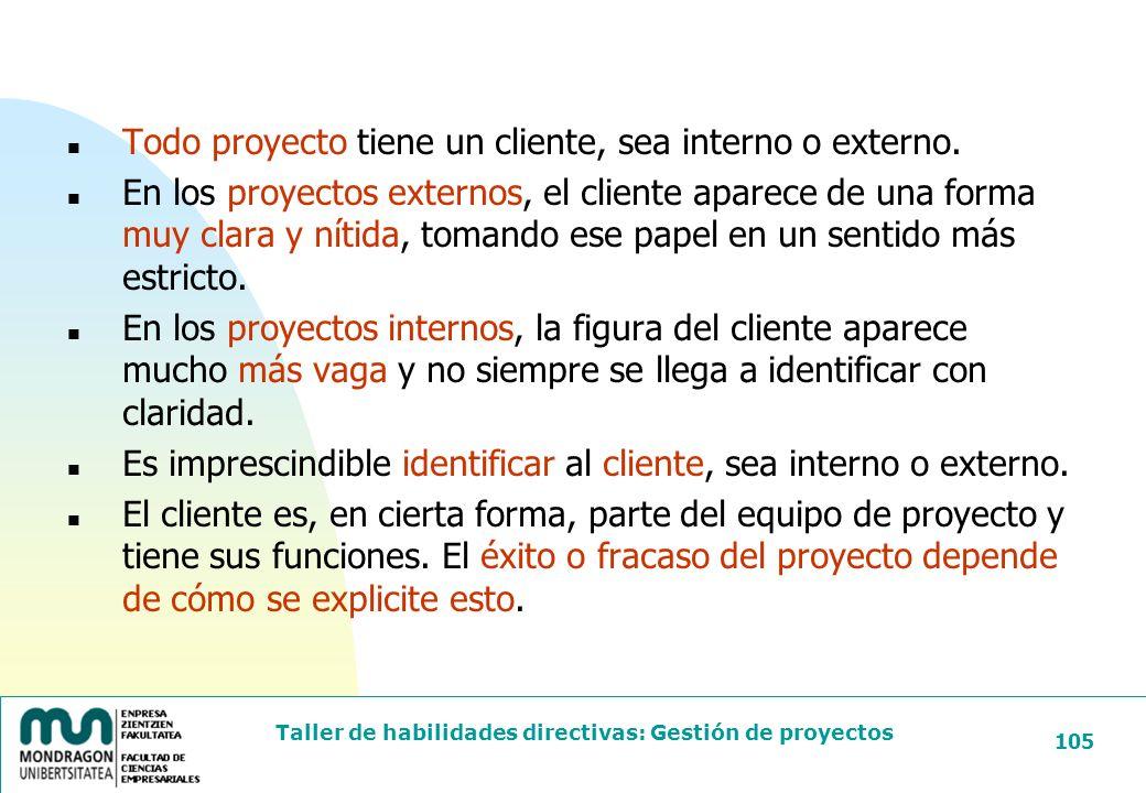 Todo proyecto tiene un cliente, sea interno o externo.