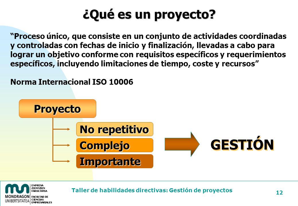 GESTIÓN ¿Qué es un proyecto Proyecto No repetitivo Complejo