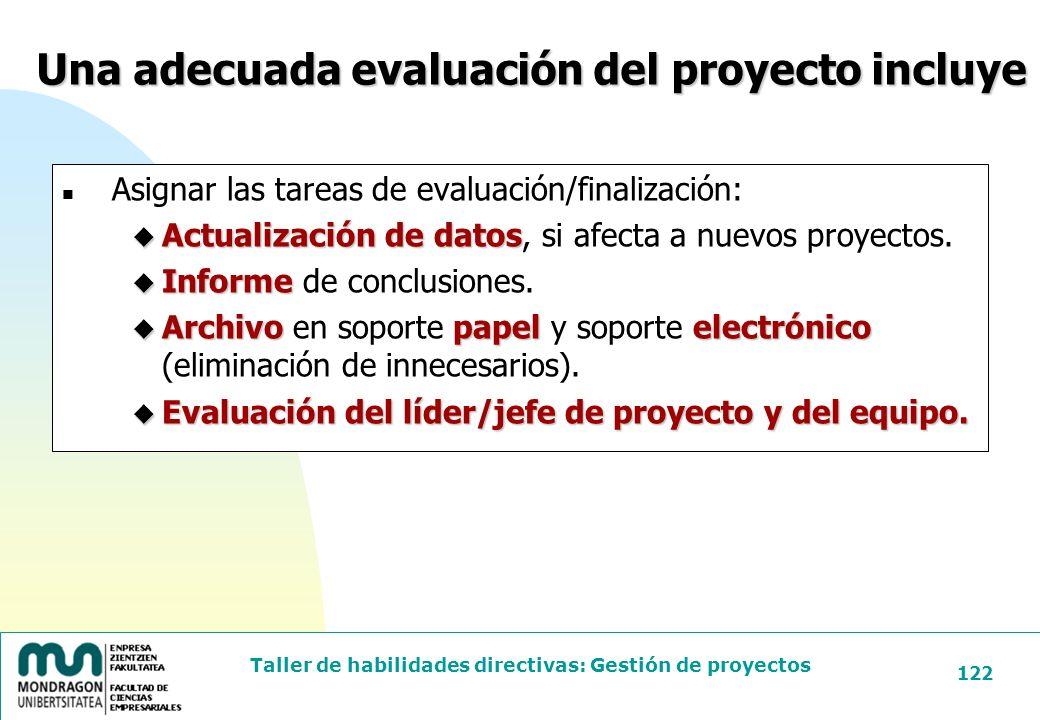 Una adecuada evaluación del proyecto incluye