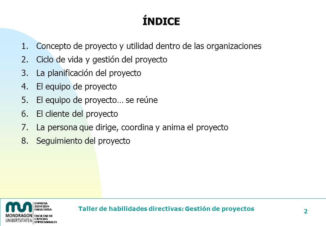 ÍNDICE Concepto de proyecto y utilidad dentro de las organizaciones