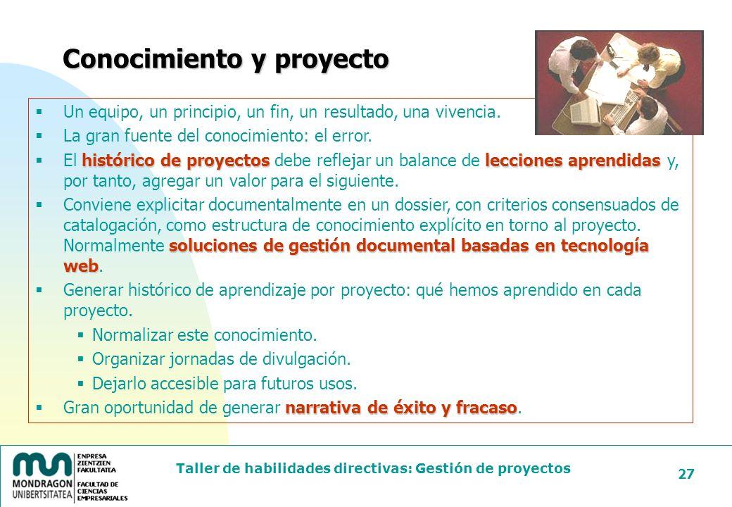 Conocimiento y proyecto