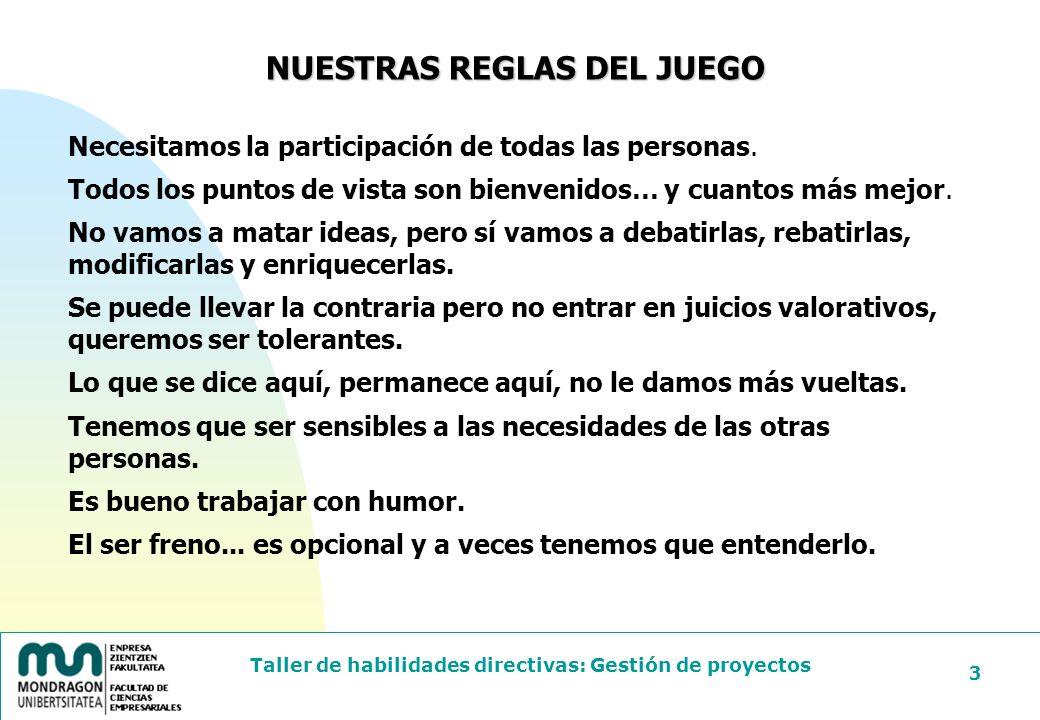 NUESTRAS REGLAS DEL JUEGO