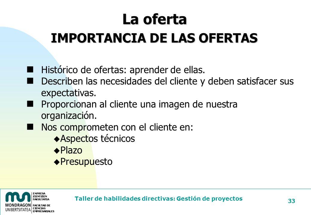 IMPORTANCIA DE LAS OFERTAS