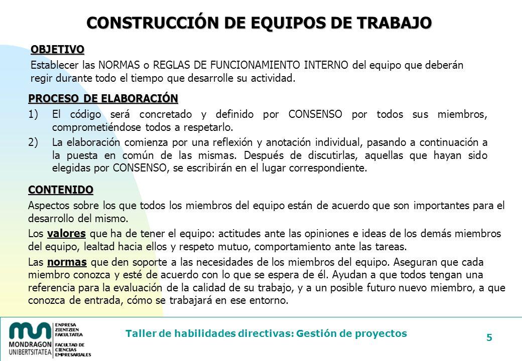 CONSTRUCCIÓN DE EQUIPOS DE TRABAJO