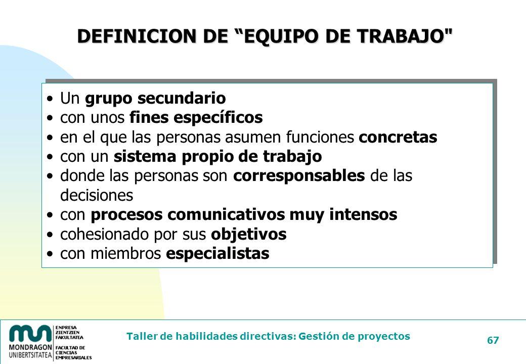 DEFINICION DE EQUIPO DE TRABAJO