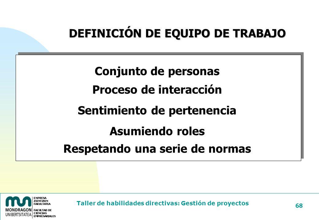 DEFINICIÓN DE EQUIPO DE TRABAJO