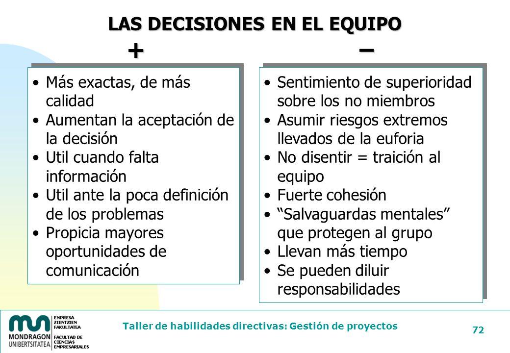 + − LAS DECISIONES EN EL EQUIPO Más exactas, de más calidad