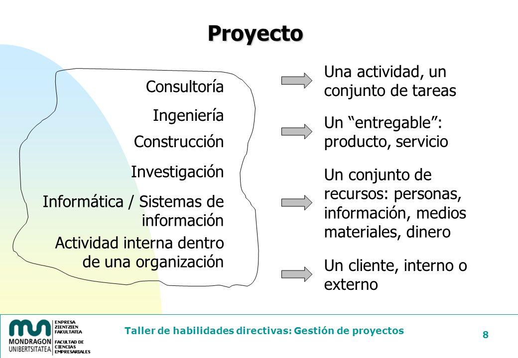Proyecto Una actividad, un conjunto de tareas Consultoría Ingeniería