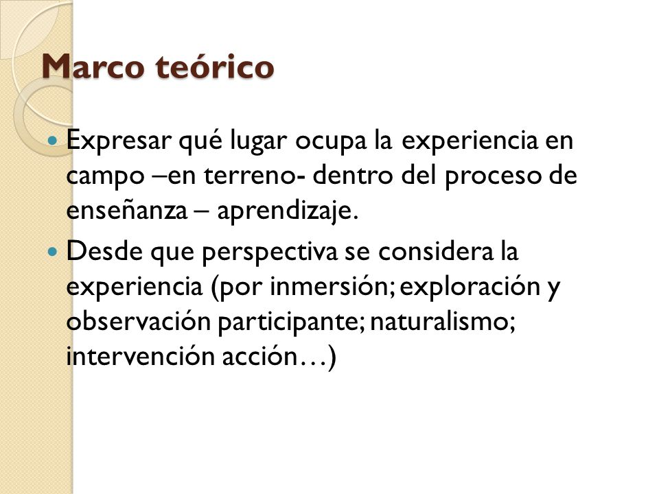 Marco teórico Expresar qué lugar ocupa la experiencia en campo –en terreno- dentro del proceso de enseñanza – aprendizaje.