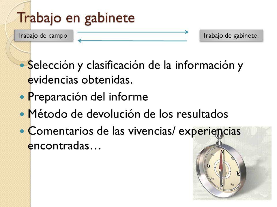 Trabajo en gabinete Trabajo de campo. Trabajo de gabinete. Selección y clasificación de la información y evidencias obtenidas.