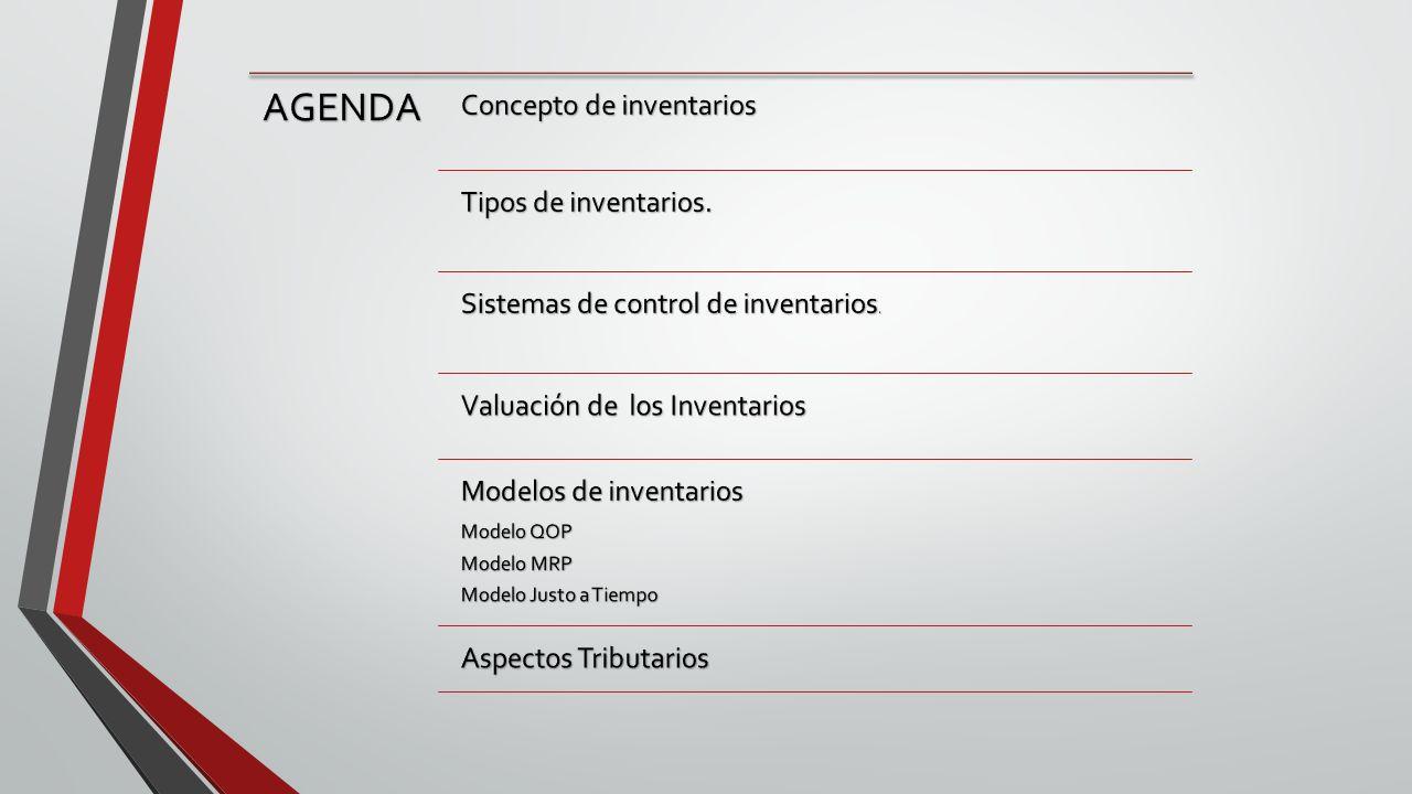 AGENDA Concepto de inventarios Tipos de inventarios.