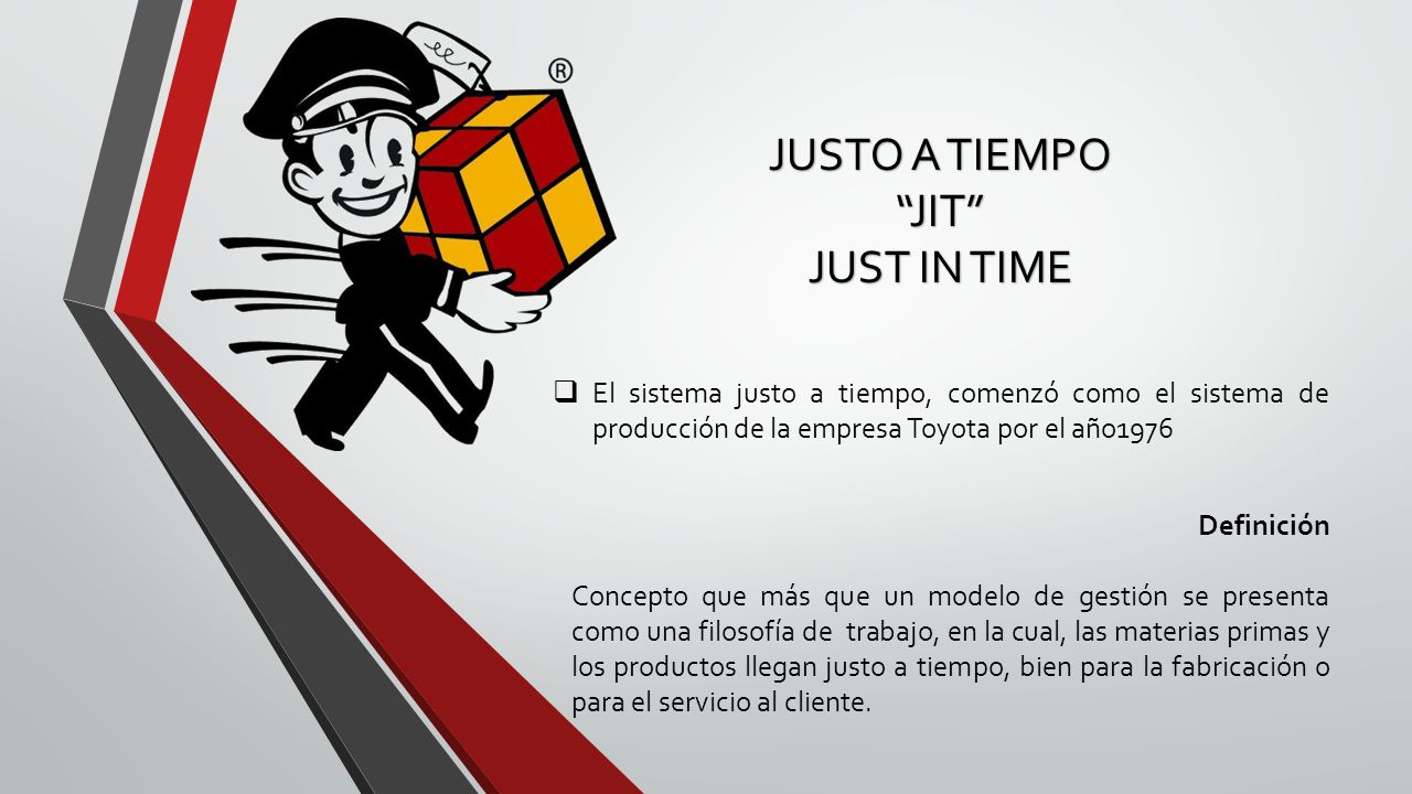 JUSTO A TIEMPO JIT JUST IN TIME