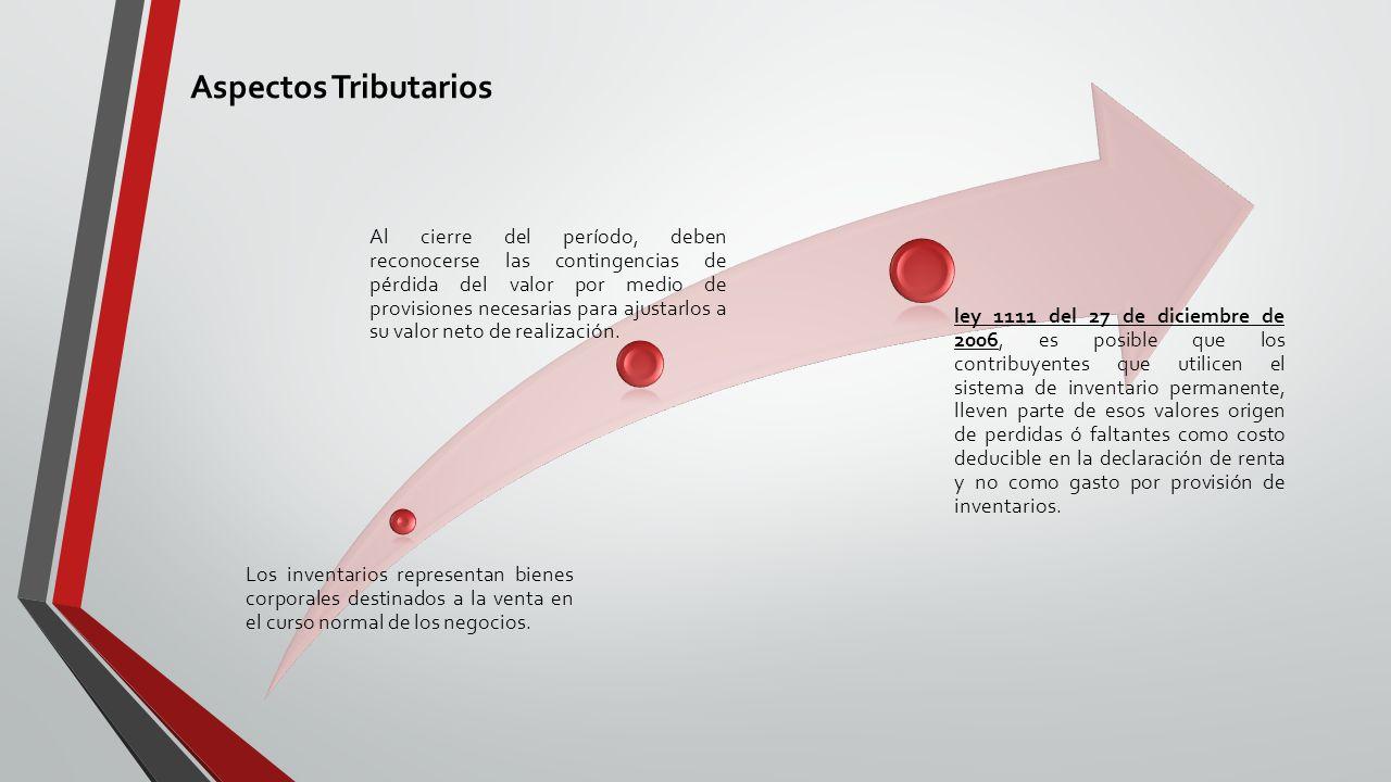 Aspectos Tributarios Los inventarios representan bienes corporales destinados a la venta en el curso normal de los negocios.