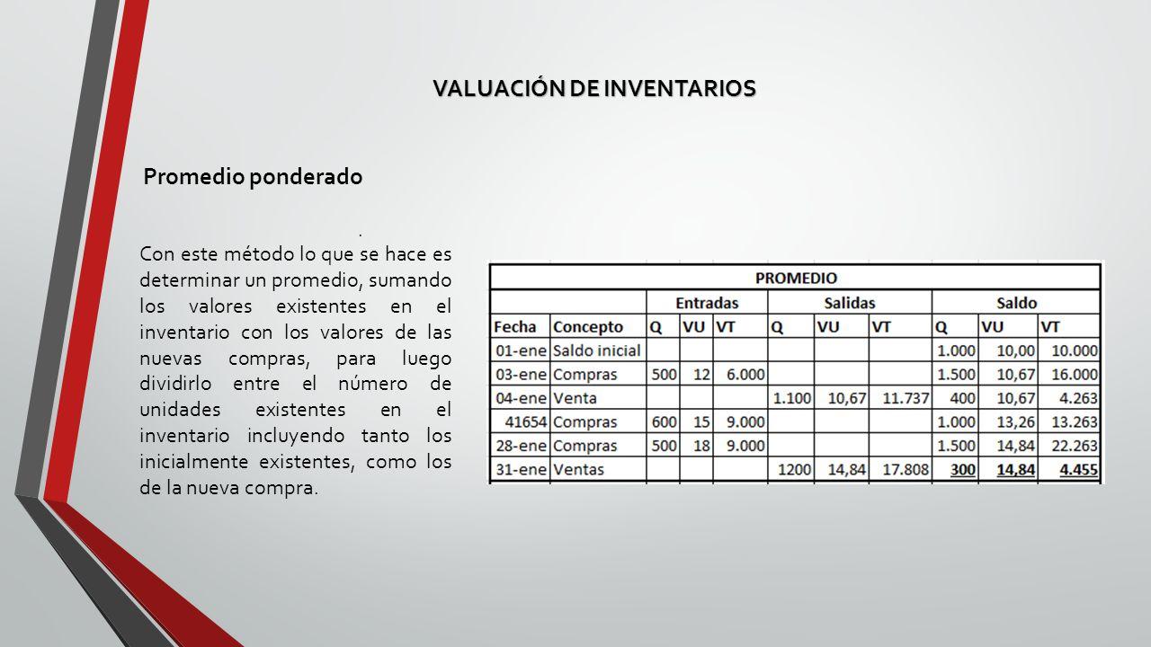 VALUACIÓN DE INVENTARIOS