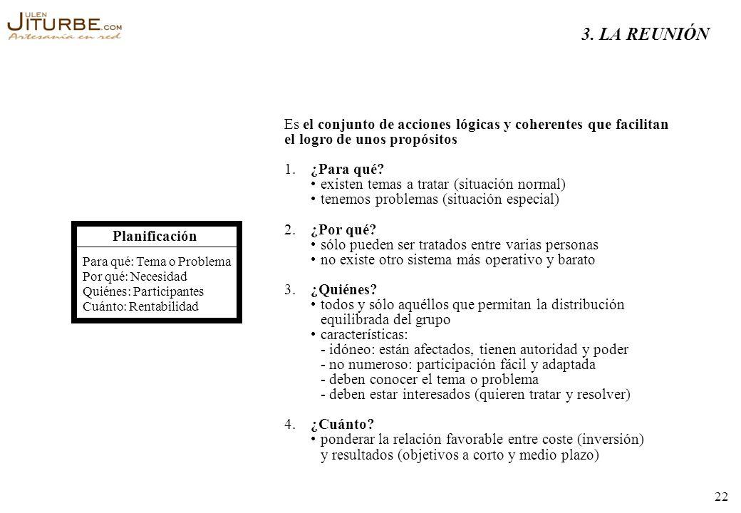 3. LA REUNIÓNEs. el conjunto de acciones lógicas y coherentes que facilitan. el logro de unos propósitos.
