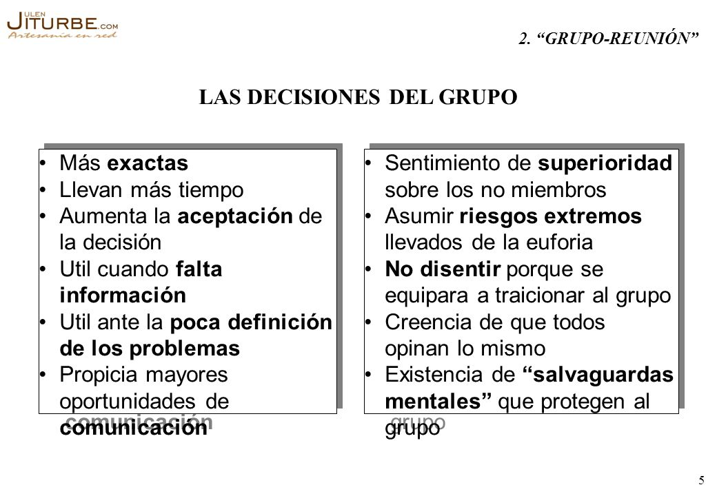 LAS DECISIONES DEL GRUPO