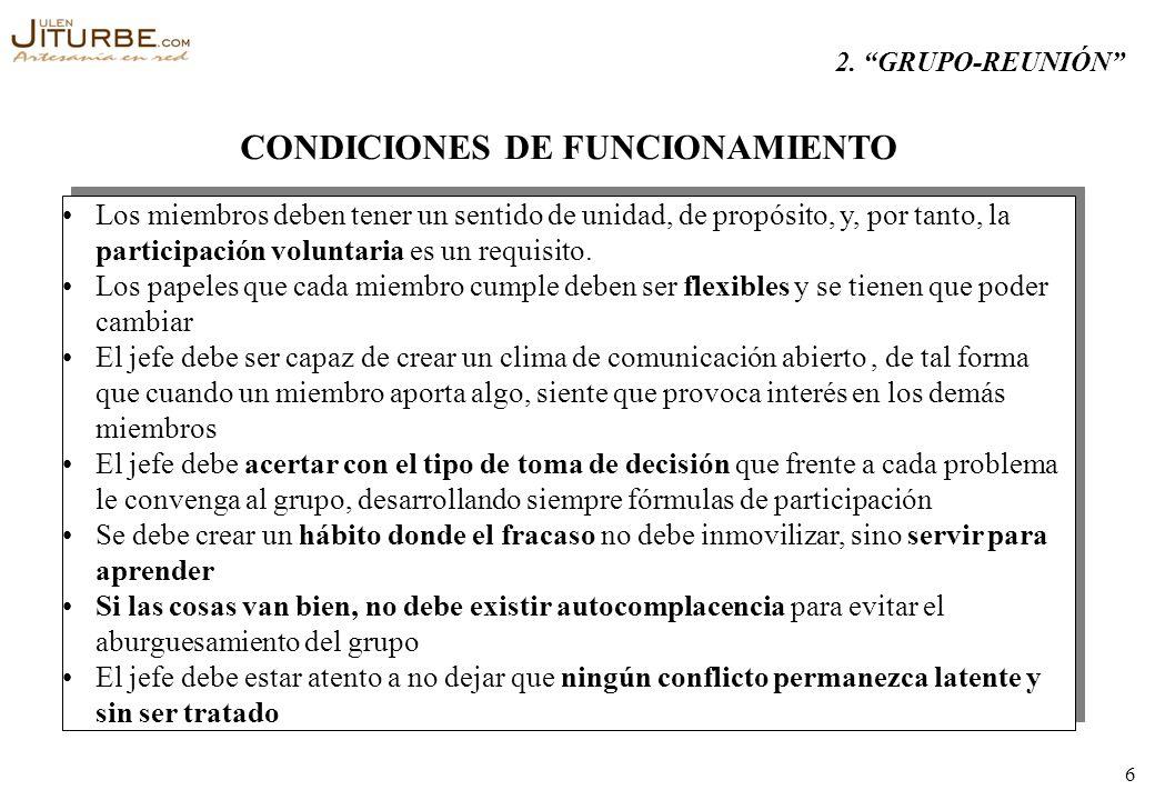 CONDICIONES DE FUNCIONAMIENTO