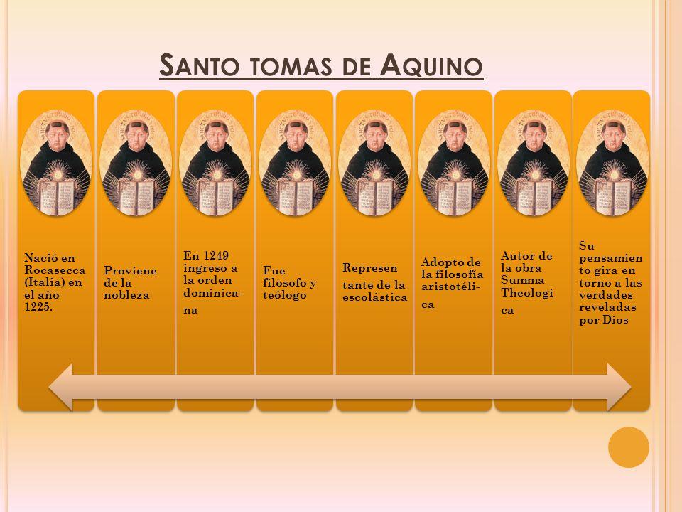 Santo tomas de Aquino Nació en Rocasecca (Italia) en el año 1225.