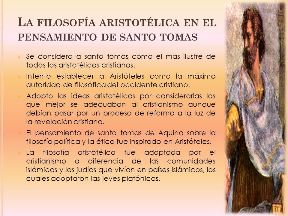La filosofía aristotélica en el pensamiento de santo tomas