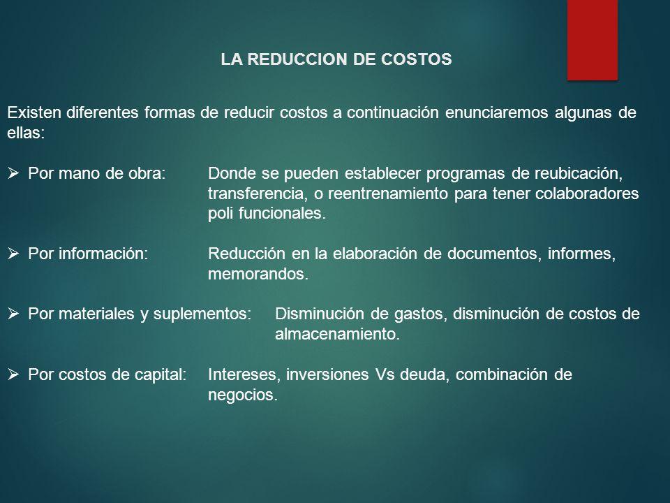 LA REDUCCION DE COSTOS Existen diferentes formas de reducir costos a continuación enunciaremos algunas de ellas: