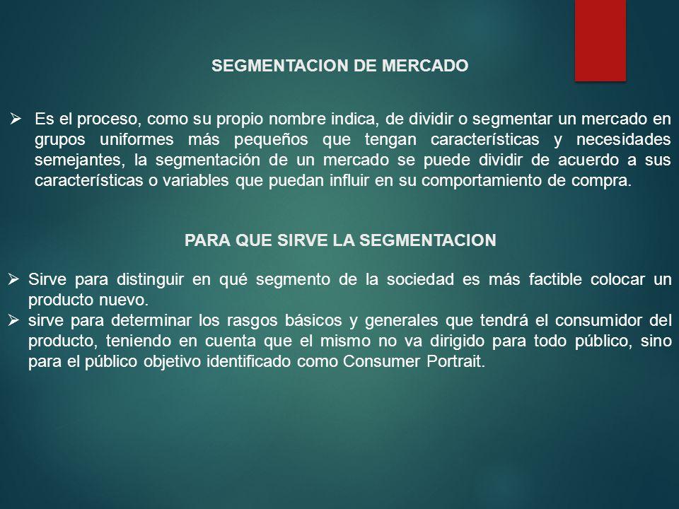 SEGMENTACION DE MERCADO PARA QUE SIRVE LA SEGMENTACION