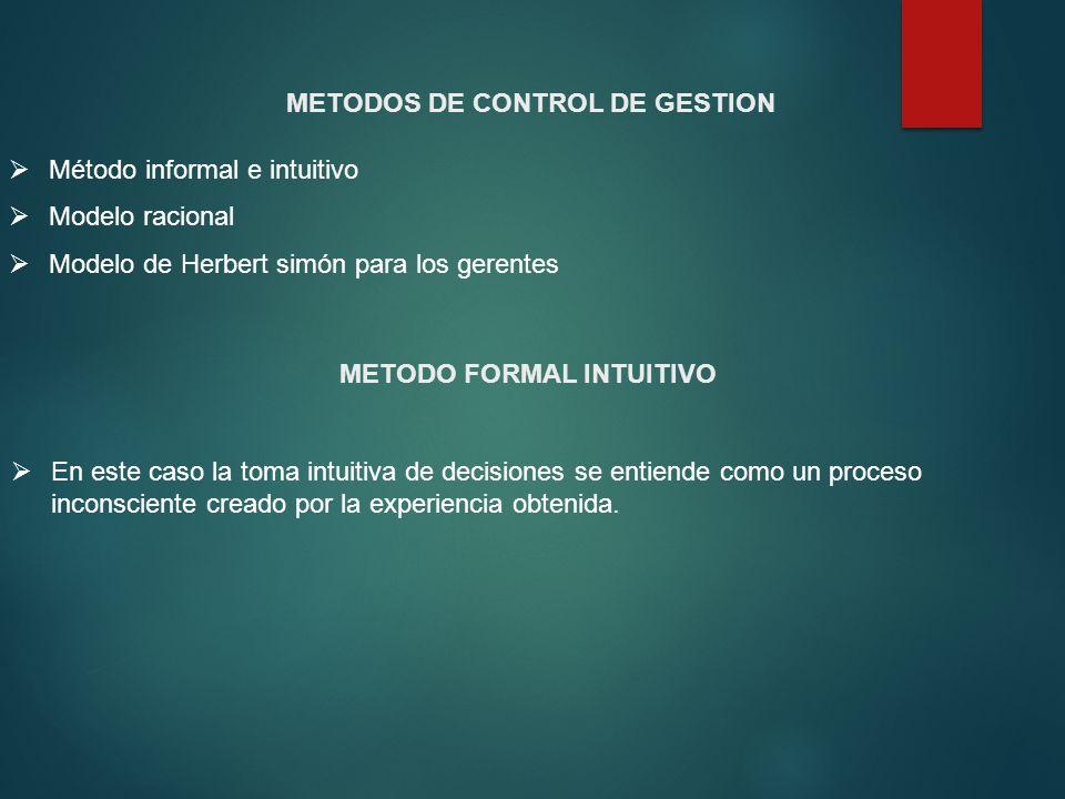 METODOS DE CONTROL DE GESTION METODO FORMAL INTUITIVO