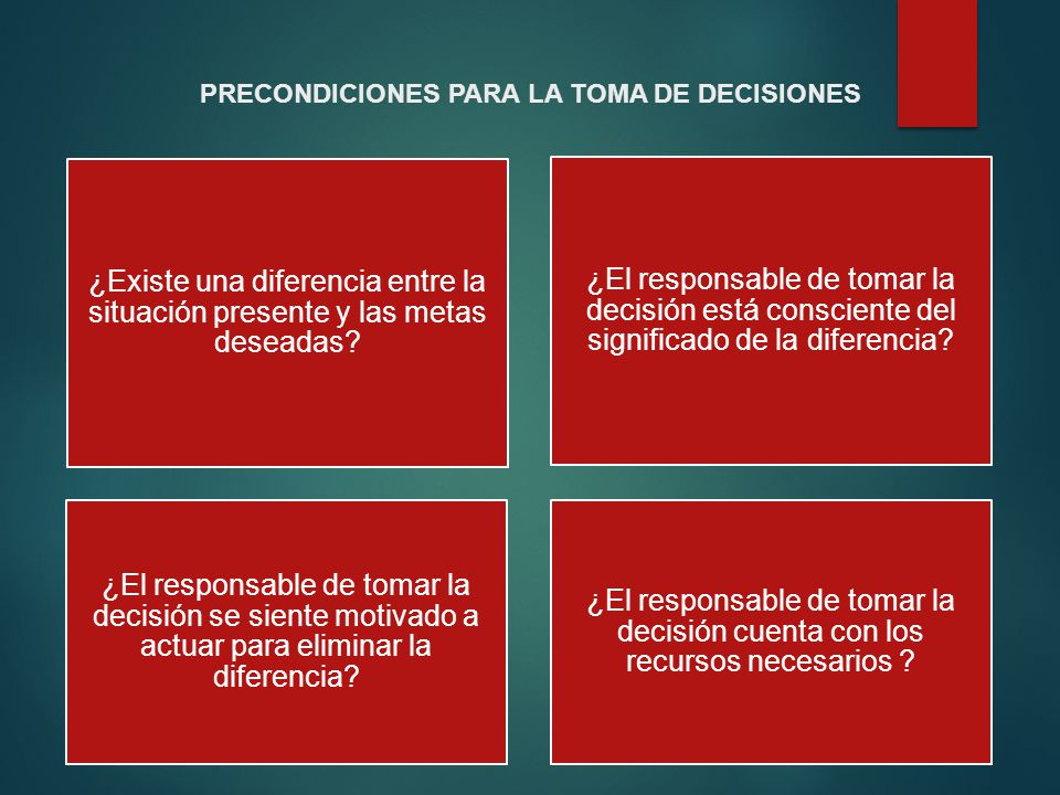 PRECONDICIONES PARA LA TOMA DE DECISIONES