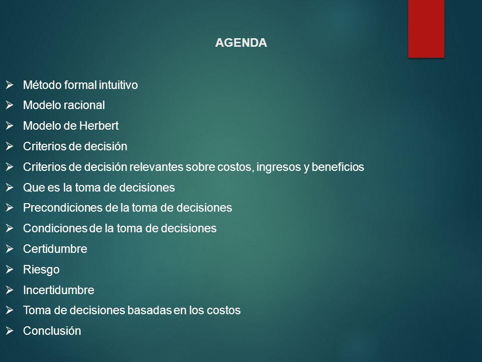 AGENDA Método formal intuitivo Modelo racional Modelo de Herbert