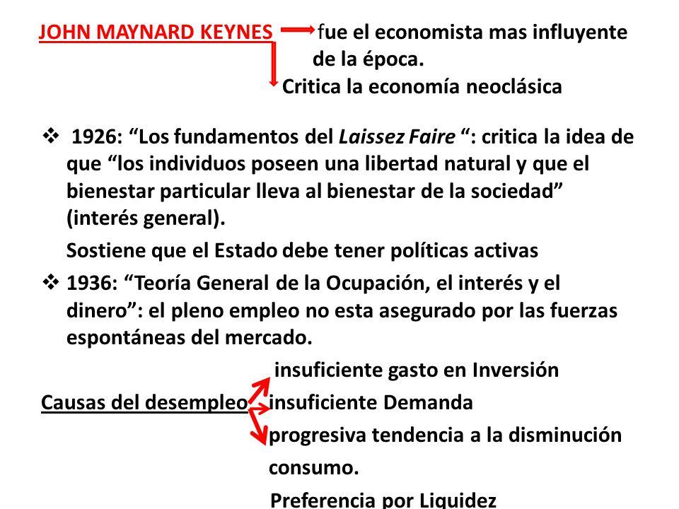 JOHN MAYNARD KEYNES fue el economista mas influyente de la época