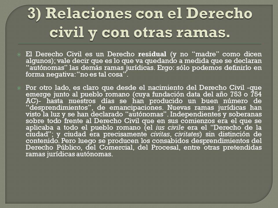 3) Relaciones con el Derecho civil y con otras ramas.
