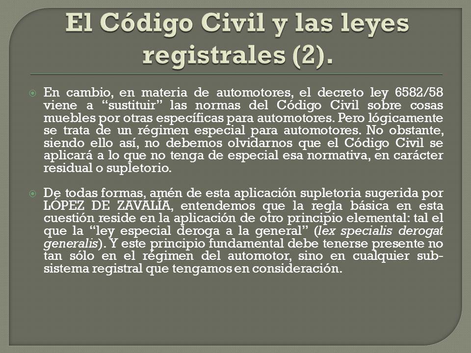 El Código Civil y las leyes registrales (2).