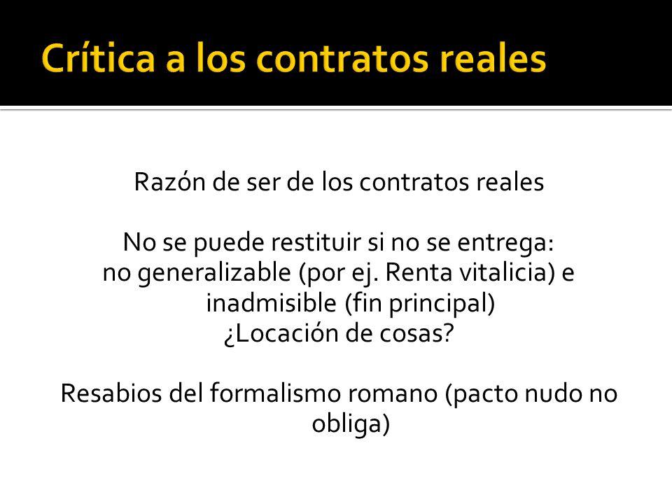 Crítica a los contratos reales
