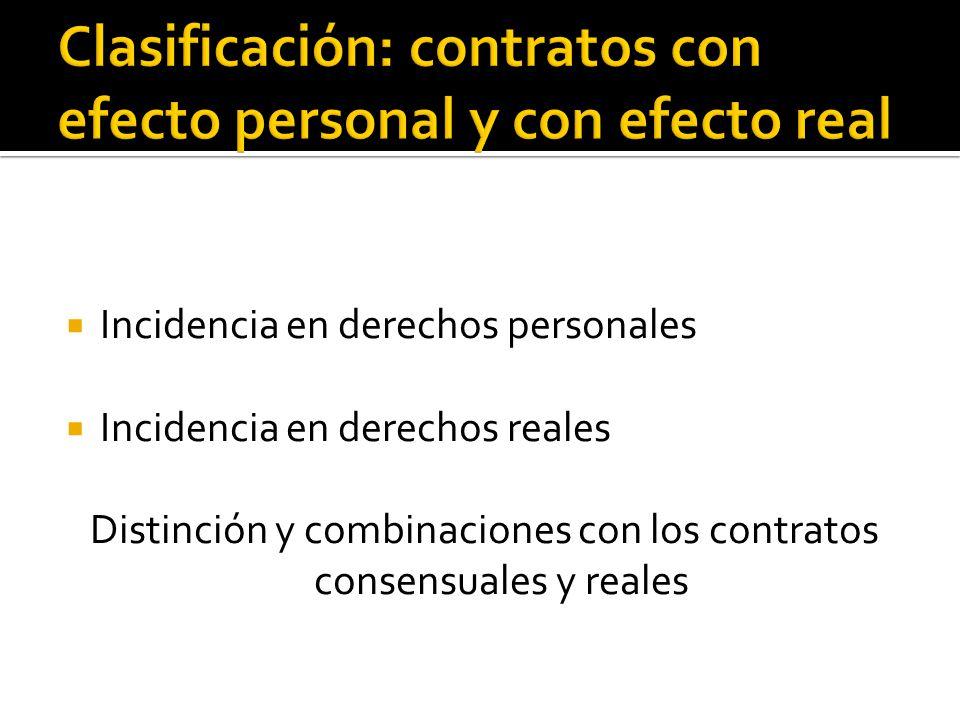 Clasificación: contratos con efecto personal y con efecto real