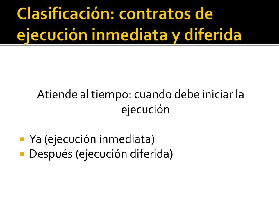 Clasificación: contratos de ejecución inmediata y diferida